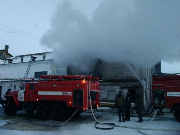 Пожар наНоволялинском целлюлозно-бумажном комбинате